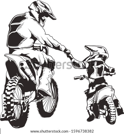 Motocross Vector ink - Dad and son motocross best friend for life Stock photo ©