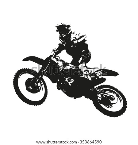 Motocross. Vector silhouette of a motorcycle racer