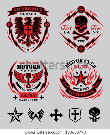 Motor Club Emblem Set Stock Vector Illustration 183638798 Shutterstock