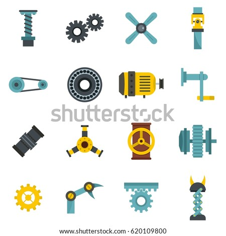Motor gears icons set logo. Flat illustration of motor gears vector icons isolated on white background