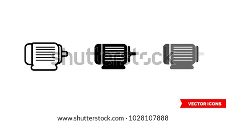 Motor icon of 3 types: color, black and white, outline. Isolated vector sign symbol.