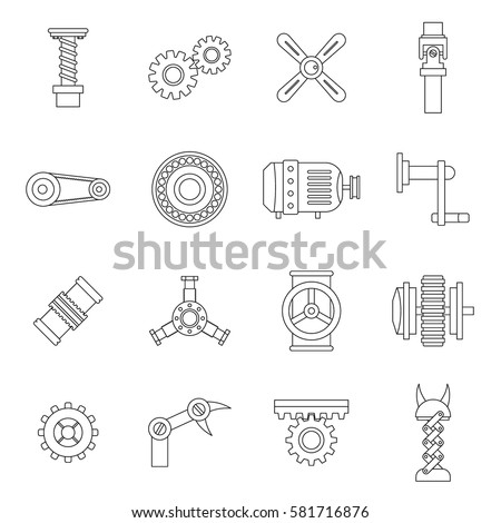 Motor icons set. Line illustration of 16 motor vector icons isolated on white background. Bearing sings