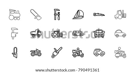 Motor icons. set of 18 editable outline motor icons: forklift, toy car, car, chainsaw, delivery bike, sailboat, motorcycle, chain saw, sport car