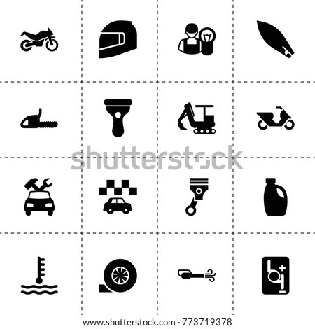 Motor icons. vector collection filled motor icons. includes symbols such as car oil, turbo, car repair, robot transmission, piston, taxi. use for web, mobile and ui design.