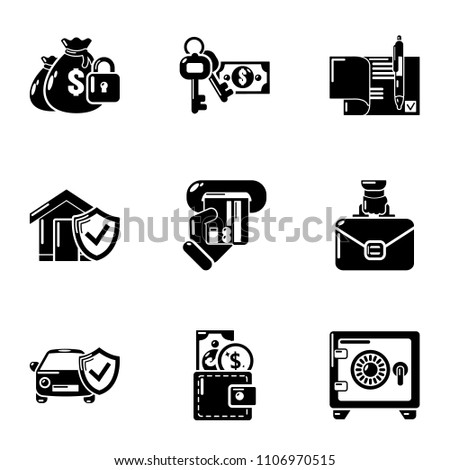 Motor insurance icons set. Simple set of 9 motor insurance vector icons for web isolated on white background