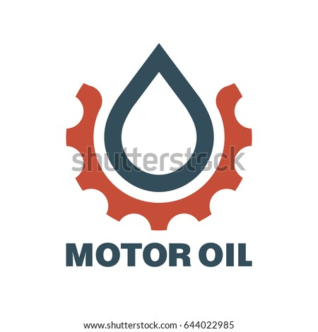 Motor oil logo. Drop lubricant and gear. Vector illustration.