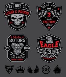 Motor racing emblem set