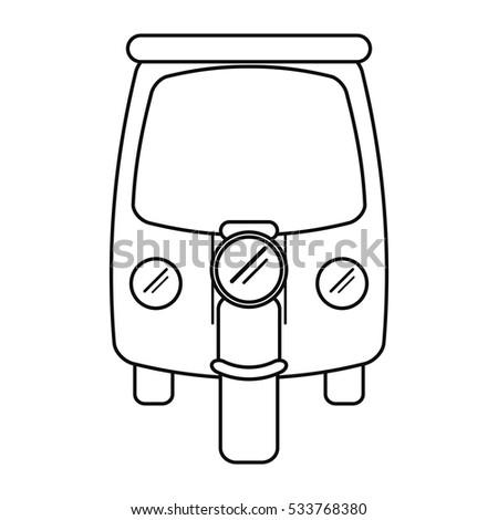 motor rickshaw transport tricycle outline