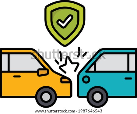Motor vehicle collision Vector Color Icon Design, Financial loss Protection Symbol, Risk management Sign, Accidental automobile insurance Concept, uninsured or underinsured motorist coverage stock  Сток-фото ©