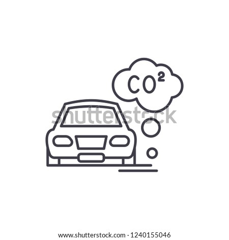 Motor vehicle pollution line icon concept. Motor vehicle pollution vector linear illustration, symbol, sign