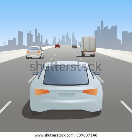 motor vehicles driving on urban highway