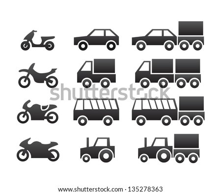 Motor vehicles icon set