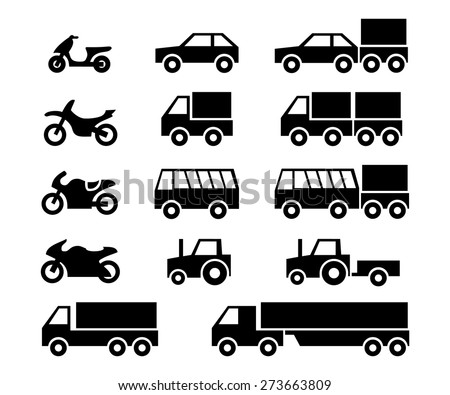 motor vehicles icon set