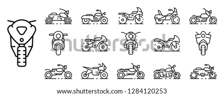 motorbike icons set outline