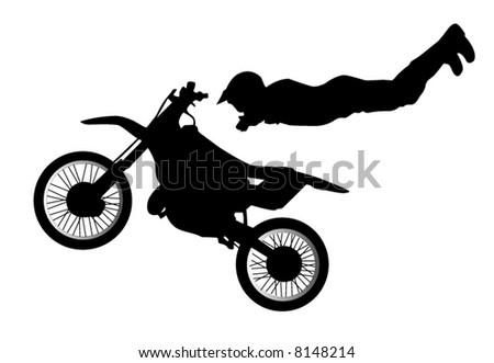 Motorbike jump - stock vector