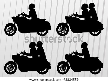Motorbike riders and motorcycles silhouettes illustration collection background vector