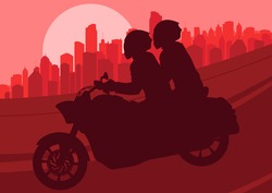 Motorbike riders motorcycle silhouette in skyscraper city landscape background illustration vector