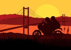 Motorbike riders motorcycle silhouette in wild mountain valley bridge landscape background illustration vector