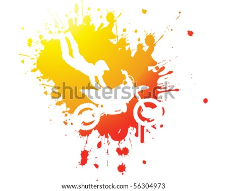 Motorbike stunt abstract - stock vector
