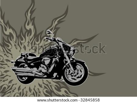 Motorbike. Vector grunge background illustration.