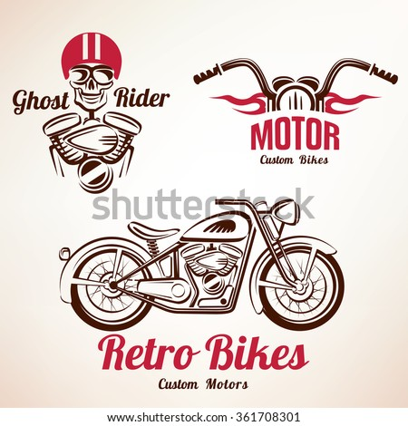 motorbikes emblems and labels