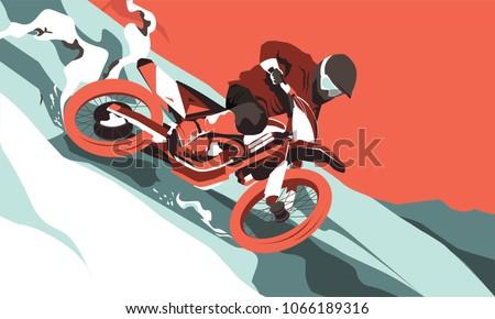 motorcross jumping vector