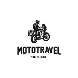 motorcycle adventure for traveler silhouette logo