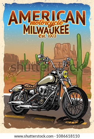 Motorcycle at American Desert Poster