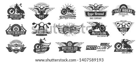 Motorcycle badges. Bikers club emblems, motorbike custom repair and wheel wings badge. Retro motorcycles motor emblem vector set