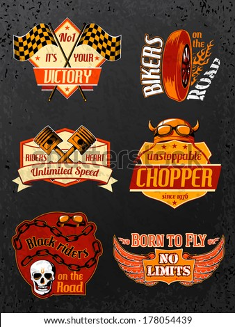 motorcycle bike badges set with