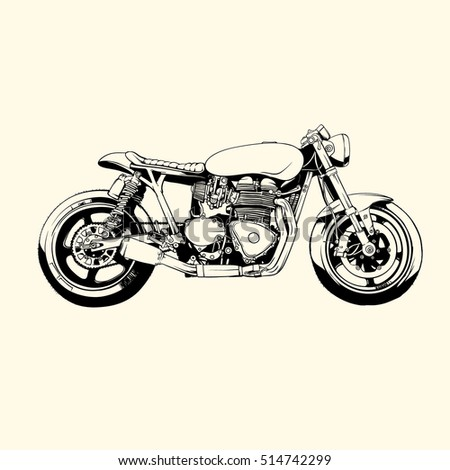 Royalty Free Cafe Racer Motorcycle Hand Drawn 363272657 Stock Photo