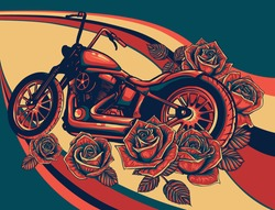 motorcycle bike with roses on colored background vector illustration