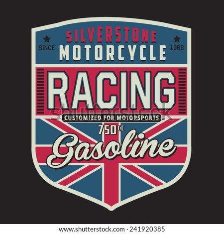 Motorcycle british typography t-shirt graphics vectors