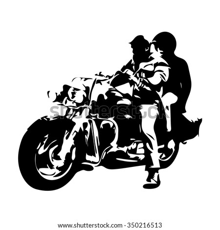 motorcycle chopper  couple on