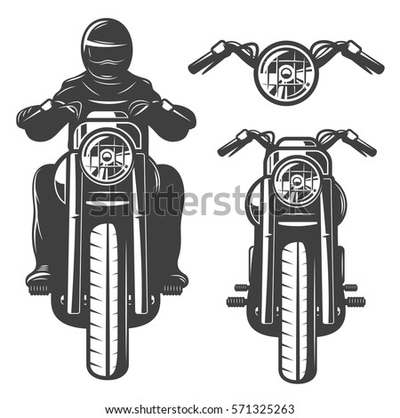 Motorcycle chopper, front, motorcycle driver, monochrome, wheel, headlamp