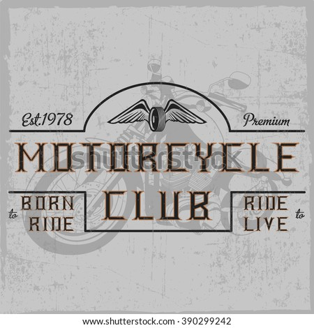 motorcycle club label with hand