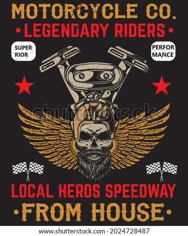 MOTORCYCLE CO. LEGENDARY RIDERS T-SHIRT DESIGN Photo stock ©