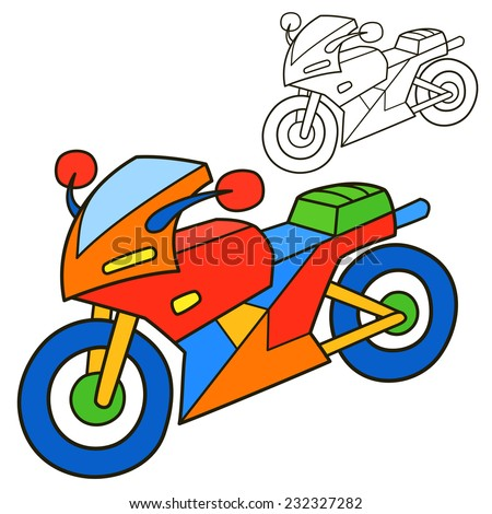 motorcycle coloring book page