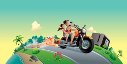 motorcycle couple  beach