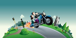 motorcycle couple city