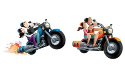 motorcycle couple set