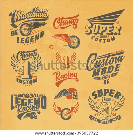 stock vector motorcycle custom motorcycle label vintage motorcycle print logos and design elements 395057722 - Каталог — Фотообои «Ретро»