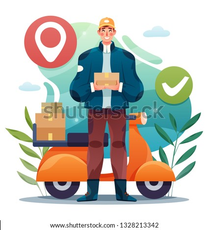 Motorcycle express delivery service. Vector illustration of young man courier delivery services holding a box.