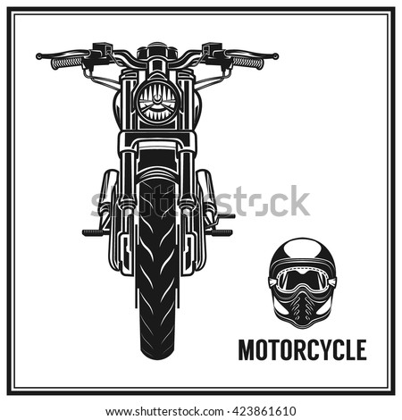 Motorcycle front view and vintage helmet