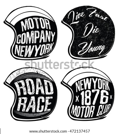 Motorcycle Helmet set . Vector graphic for t shirt