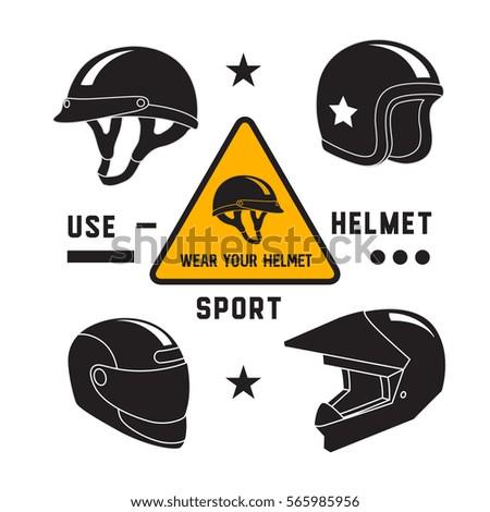 motorcycle helmets icons set