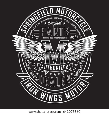 Motorcycle iron wings motor typography, tee shirt graphics, vectors