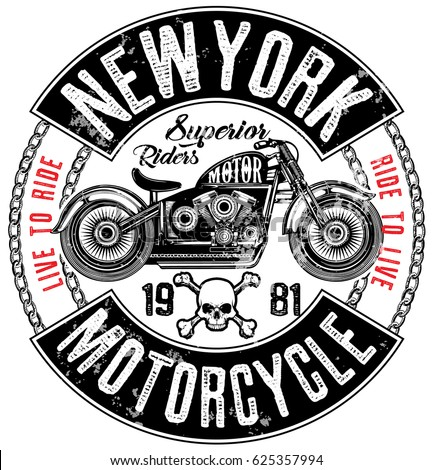 motorcycle label t shirt design