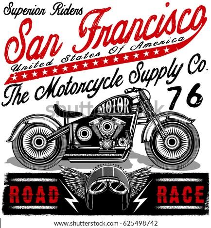 motorcycle label t shirt design