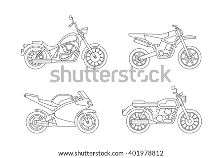 motorcycle line icons set